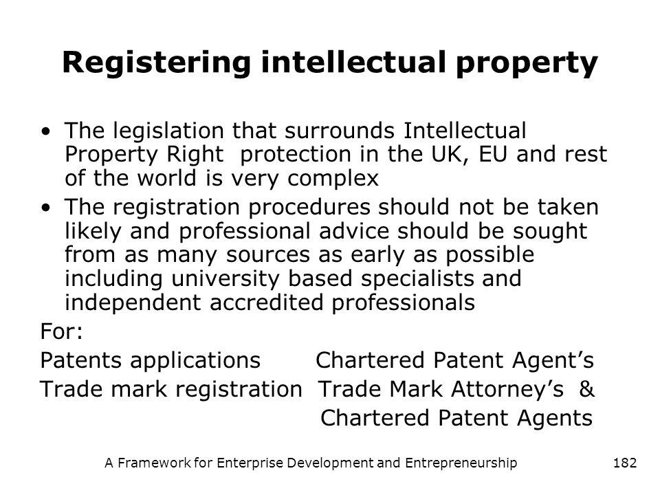 A Framework for Enterprise Development and Entrepreneurship182 Registering intellectual property The legislation that surrounds Intellectual Property