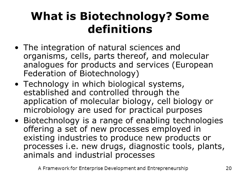 A Framework for Enterprise Development and Entrepreneurship20 What is Biotechnology? Some definitions The integration of natural sciences and organism