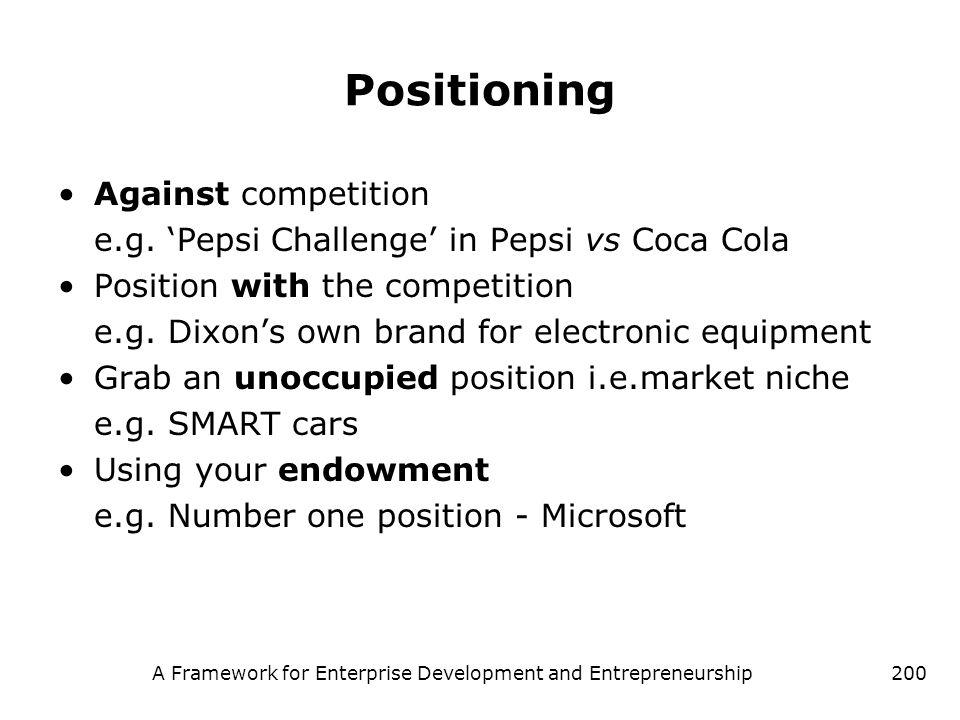 A Framework for Enterprise Development and Entrepreneurship200 Positioning Against competition e.g. Pepsi Challenge in Pepsi vs Coca Cola Position wit