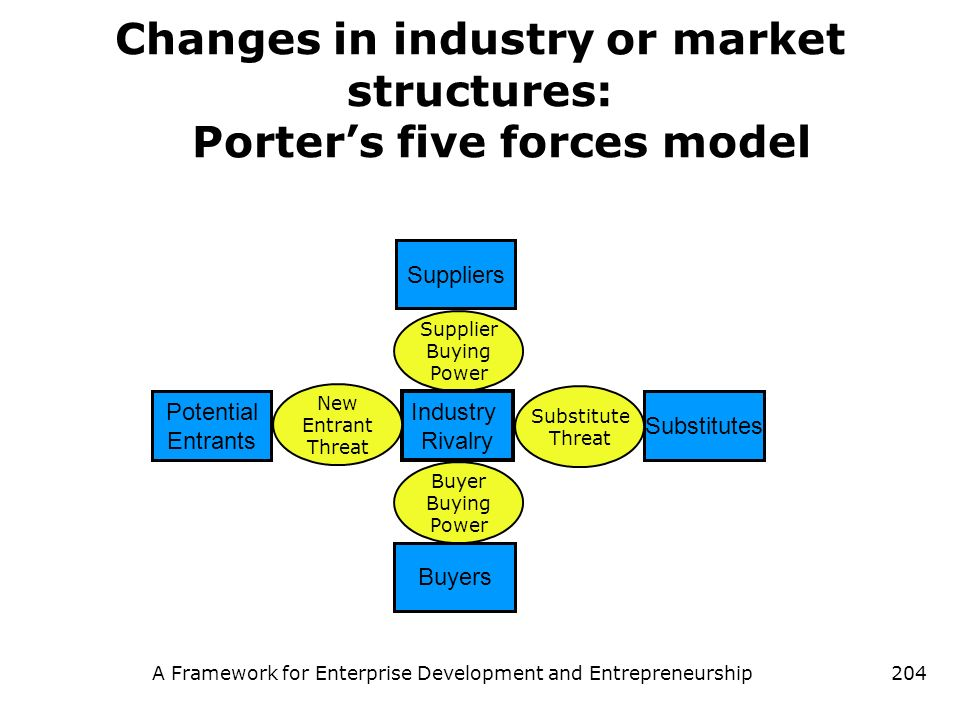 A Framework for Enterprise Development and Entrepreneurship204 Changes in industry or market structures: Porters five forces model Supplier Buying Pow