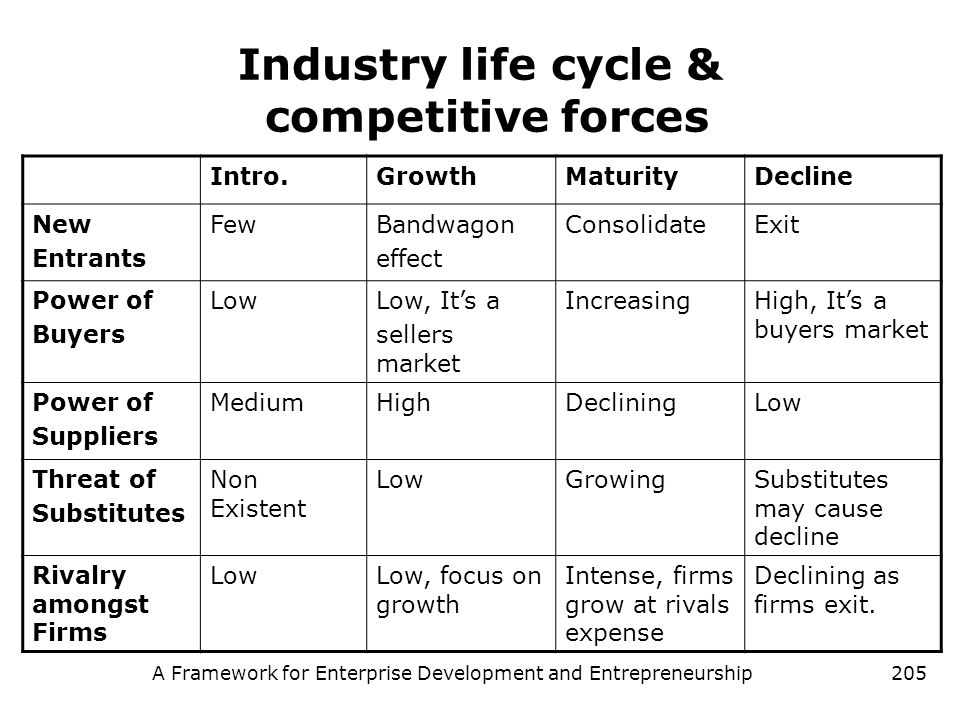 A Framework for Enterprise Development and Entrepreneurship205 Industry life cycle & competitive forces Intro.GrowthMaturityDecline New Entrants FewBa