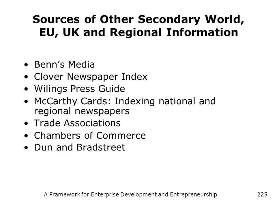 A Framework for Enterprise Development and Entrepreneurship225 Sources of Other Secondary World, EU, UK and Regional Information Benns Media Clover Ne