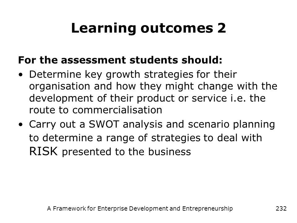 A Framework for Enterprise Development and Entrepreneurship232 Learning outcomes 2 For the assessment students should: Determine key growth strategies