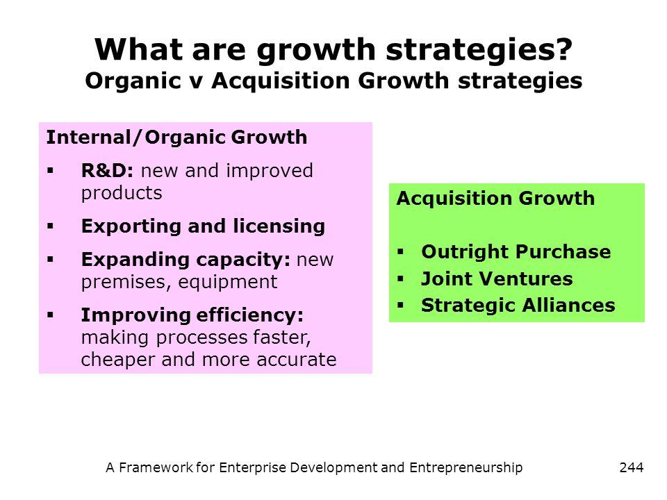 A Framework for Enterprise Development and Entrepreneurship244 What are growth strategies? Organic v Acquisition Growth strategies Acquisition Growth