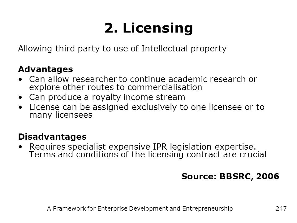 A Framework for Enterprise Development and Entrepreneurship247 2. Licensing Allowing third party to use of Intellectual property Advantages Can allow