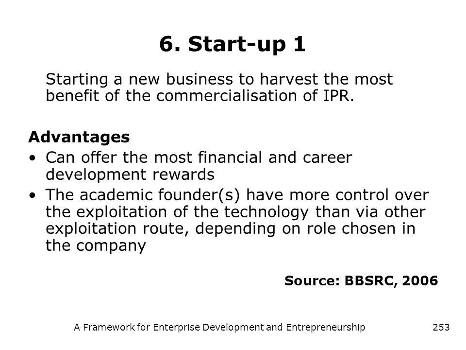A Framework for Enterprise Development and Entrepreneurship253 6. Start-up 1 Starting a new business to harvest the most benefit of the commercialisat