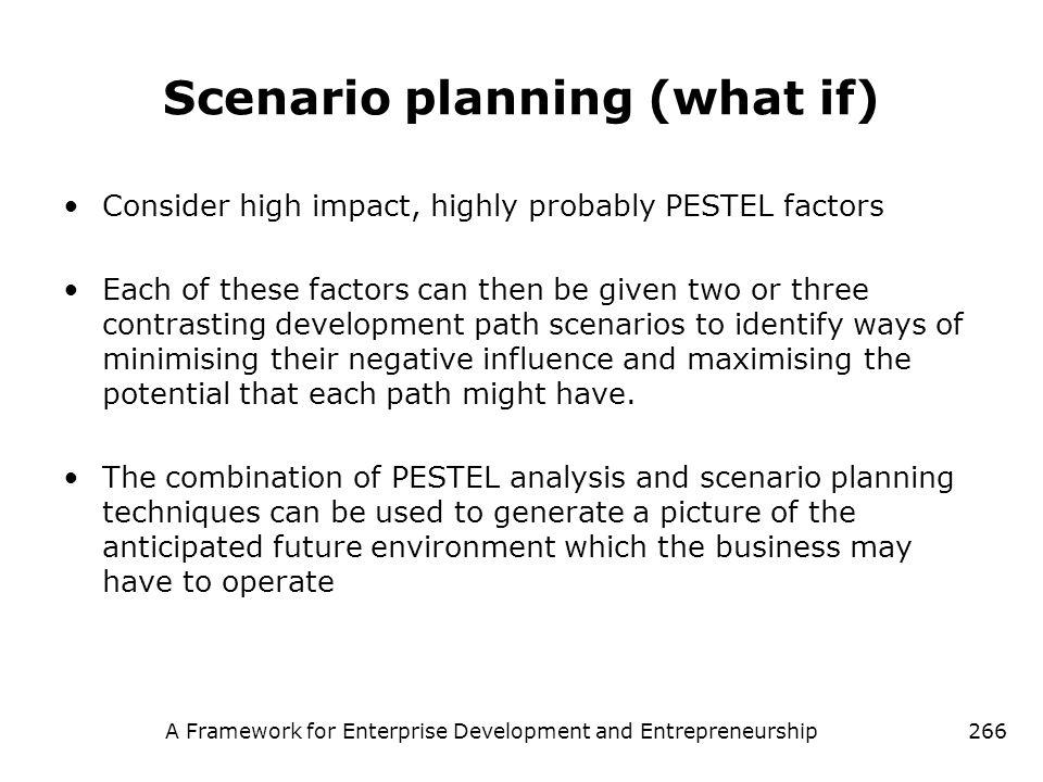 A Framework for Enterprise Development and Entrepreneurship266 Scenario planning (what if) Consider high impact, highly probably PESTEL factors Each o