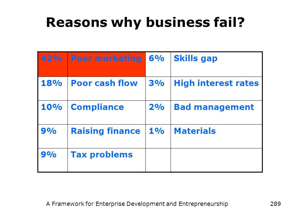 A Framework for Enterprise Development and Entrepreneurship289 Reasons why business fail? 42%Poor marketing6%Skills gap 18%Poor cash flow3%High intere