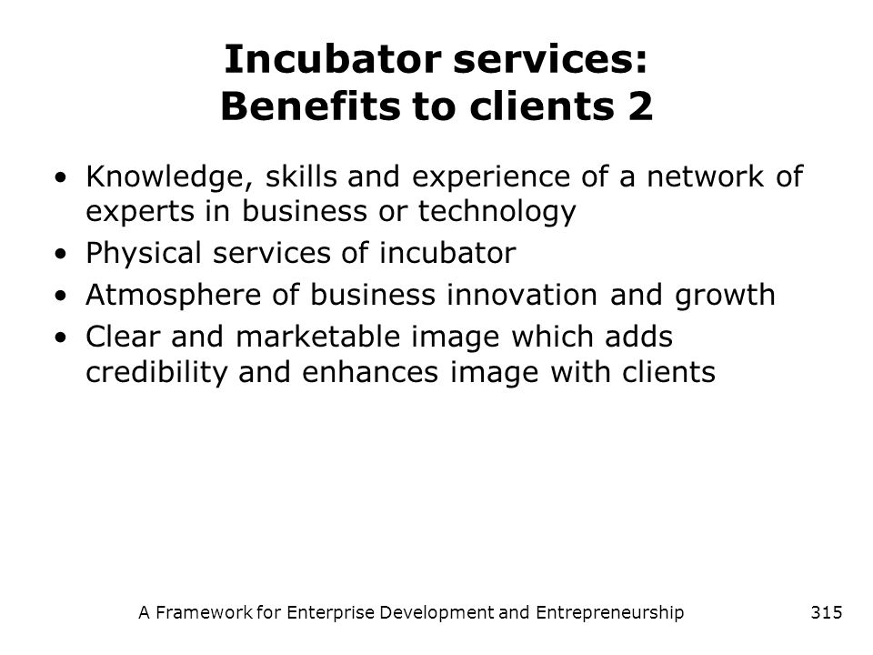 A Framework for Enterprise Development and Entrepreneurship315 Incubator services: Benefits to clients 2 Knowledge, skills and experience of a network
