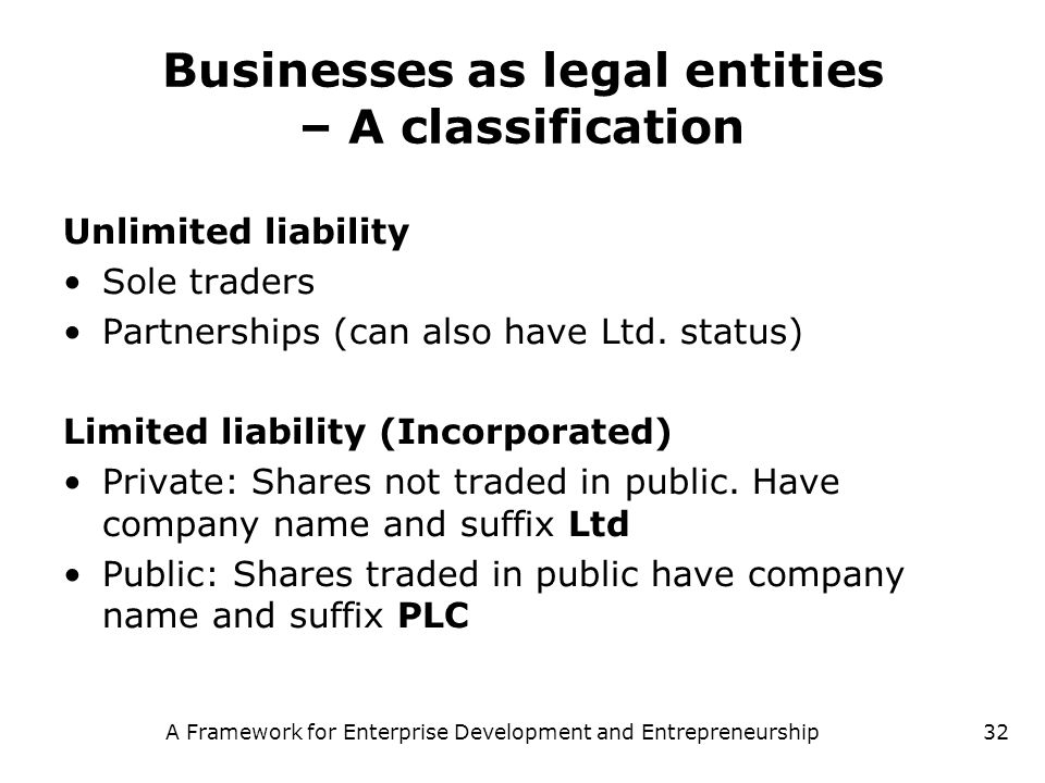 A Framework for Enterprise Development and Entrepreneurship32 Businesses as legal entities – A classification Unlimited liability Sole traders Partner