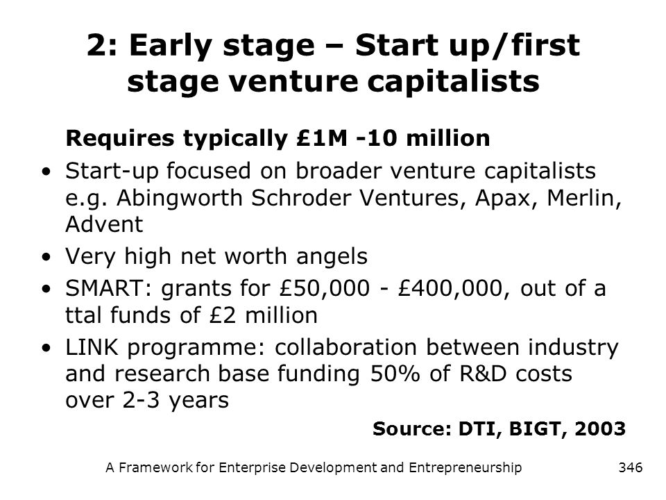 A Framework for Enterprise Development and Entrepreneurship346 2: Early stage – Start up/first stage venture capitalists Requires typically £1M -10 mi