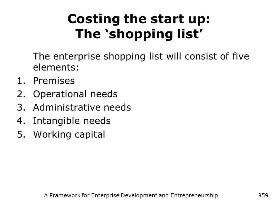 A Framework for Enterprise Development and Entrepreneurship359 Costing the start up: The shopping list The enterprise shopping list will consist of fi