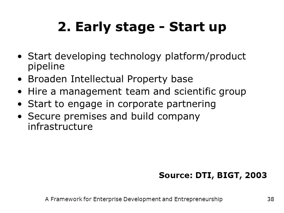 A Framework for Enterprise Development and Entrepreneurship38 2. Early stage - Start up Start developing technology platform/product pipeline Broaden