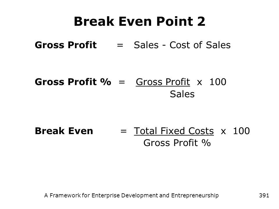 A Framework for Enterprise Development and Entrepreneurship391 Break Even Point 2 Gross Profit = Sales - Cost of Sales Gross Profit % = Gross Profit x