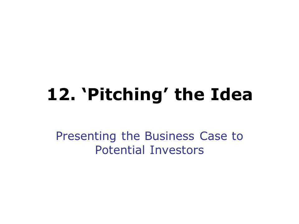 12. Pitching the Idea Presenting the Business Case to Potential Investors