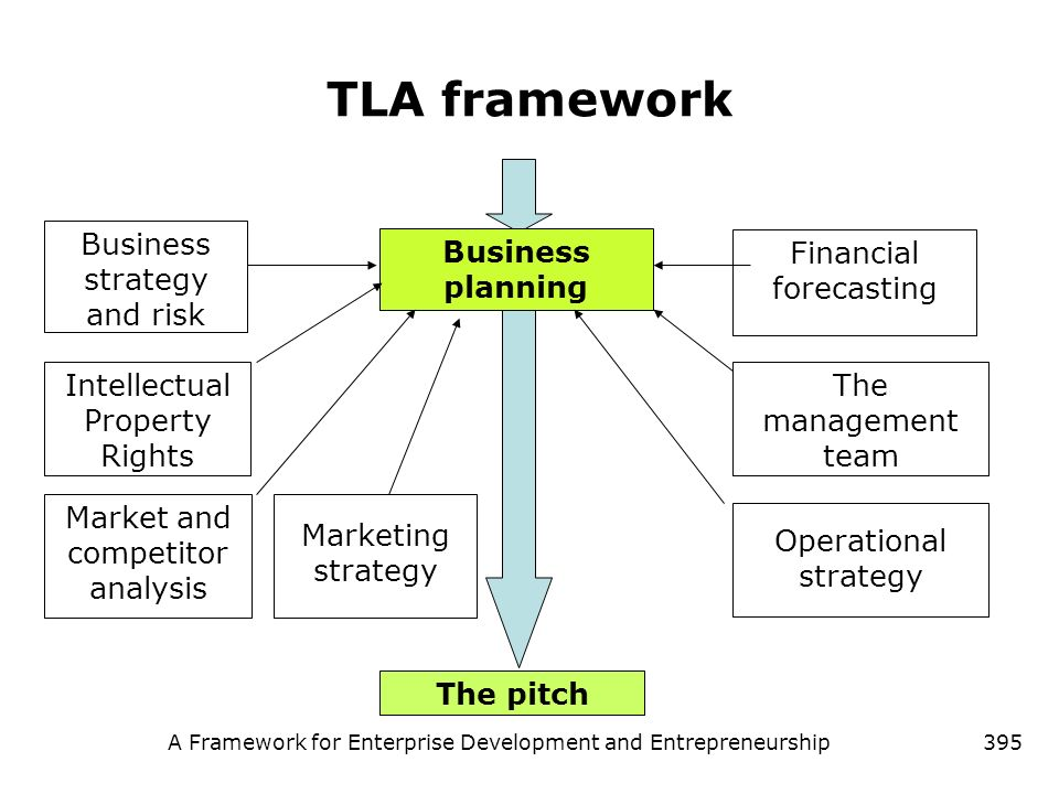 A Framework for Enterprise Development and Entrepreneurship395 TLA framework Business planning Intellectual Property Rights Business strategy and risk