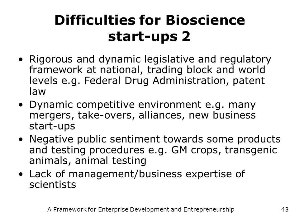 A Framework for Enterprise Development and Entrepreneurship43 Difficulties for Bioscience start-ups 2 Rigorous and dynamic legislative and regulatory