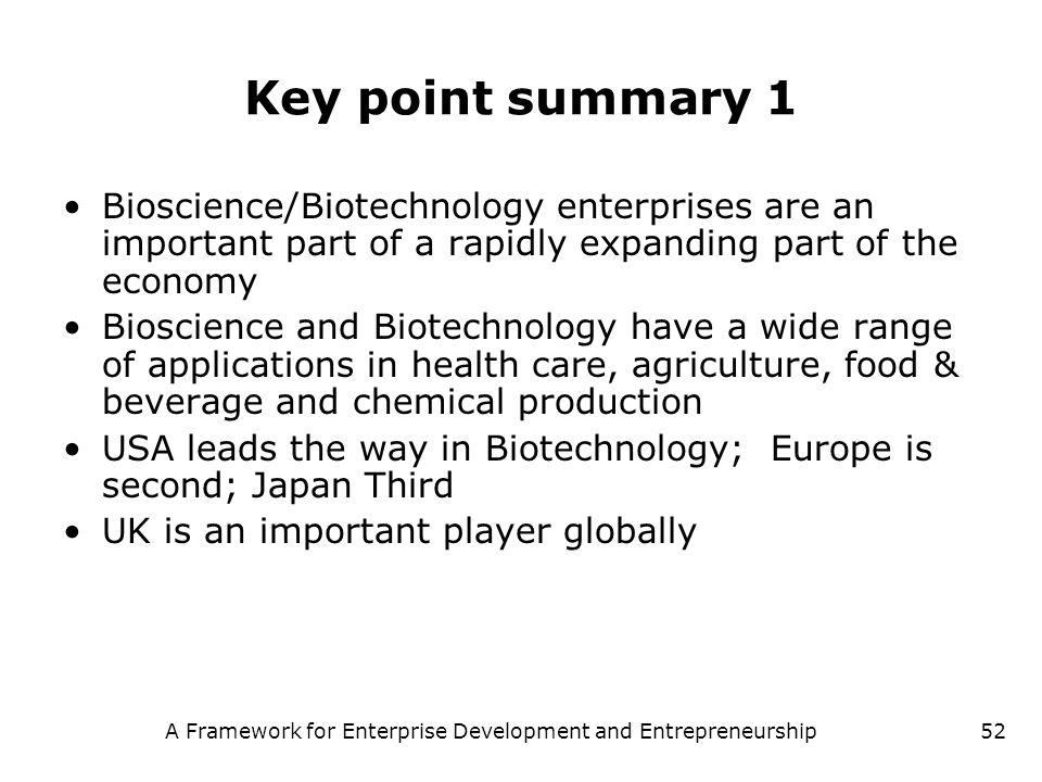 A Framework for Enterprise Development and Entrepreneurship52 Key point summary 1 Bioscience/Biotechnology enterprises are an important part of a rapi