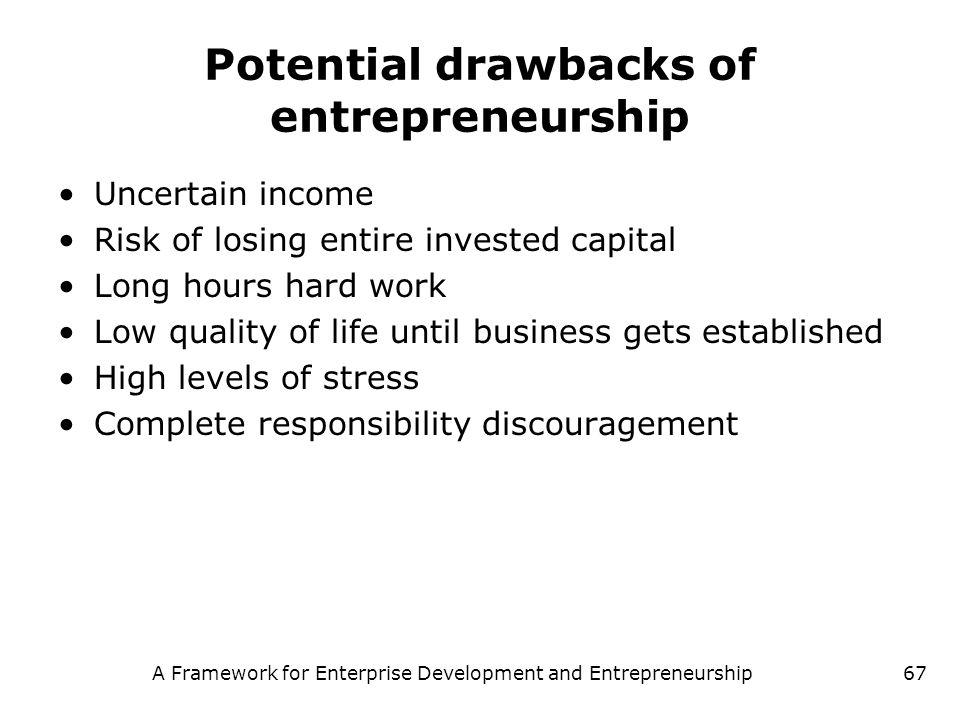 A Framework for Enterprise Development and Entrepreneurship67 Potential drawbacks of entrepreneurship Uncertain income Risk of losing entire invested