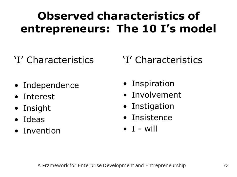 A Framework for Enterprise Development and Entrepreneurship72 Observed characteristics of entrepreneurs: The 10 Is model I Characteristics Independenc