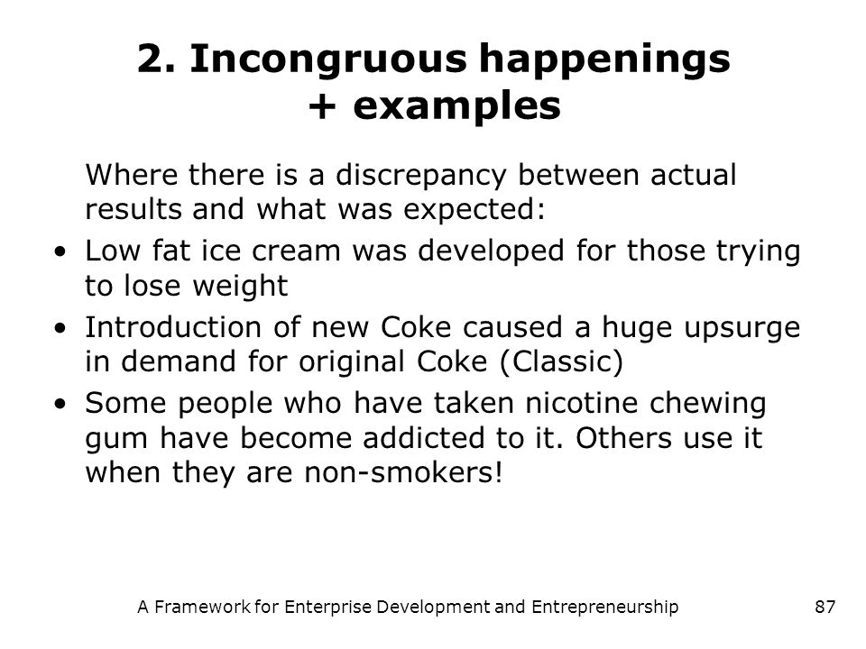 A Framework for Enterprise Development and Entrepreneurship87 2. Incongruous happenings + examples Where there is a discrepancy between actual results