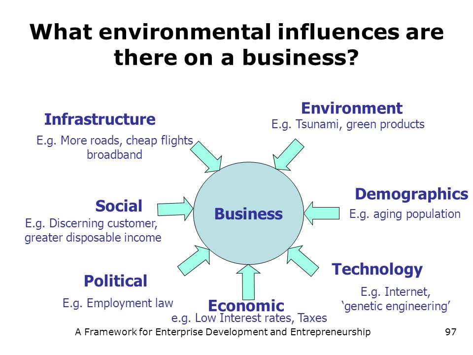 A Framework for Enterprise Development and Entrepreneurship97 What environmental influences are there on a business? Business Social Political Economi