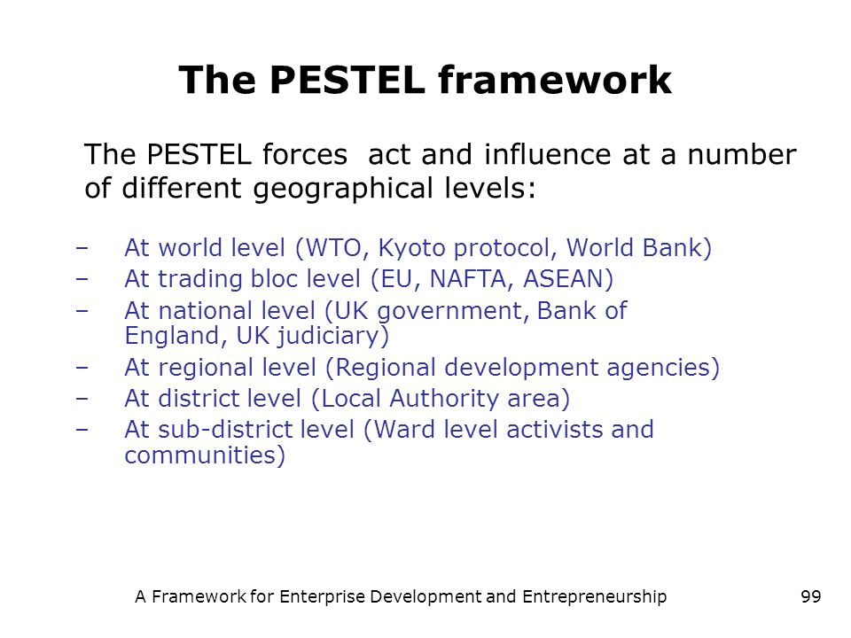 A Framework for Enterprise Development and Entrepreneurship99 The PESTEL framework The PESTEL forces act and influence at a number of different geogra