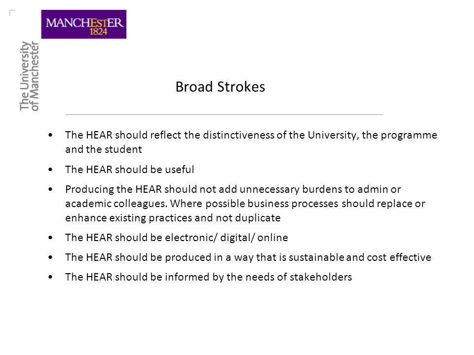 Broad Strokes The HEAR should reflect the distinctiveness of the University, the programme and the student The HEAR should be useful Producing the HEAR should not add unnecessary burdens to admin or academic colleagues.