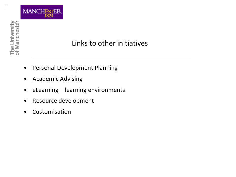 Links to other initiatives Personal Development Planning Academic Advising eLearning – learning environments Resource development Customisation