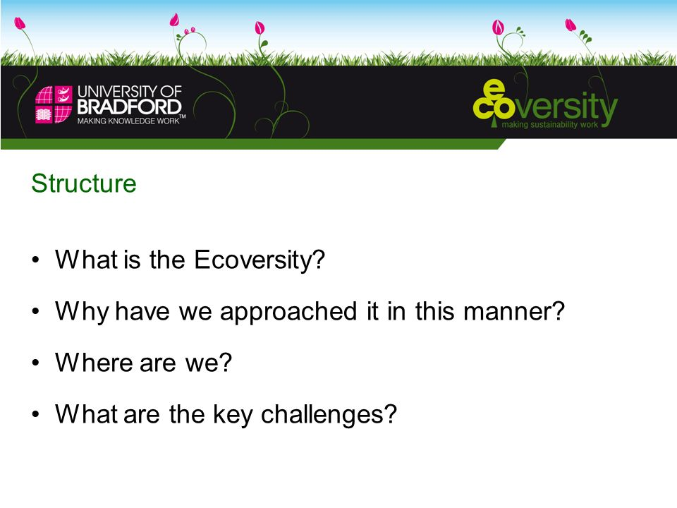 Structure What is the Ecoversity. Why have we approached it in this manner.