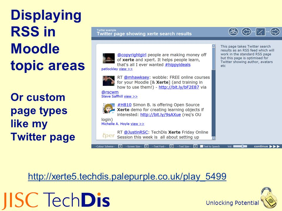 Unlocking Potential Displaying RSS in Moodle topic areas Or custom page types like my Twitter page