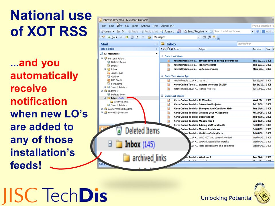 Unlocking Potential National use of XOT RSS...and you automatically receive notification when new LOs are added to any of those installations feeds!