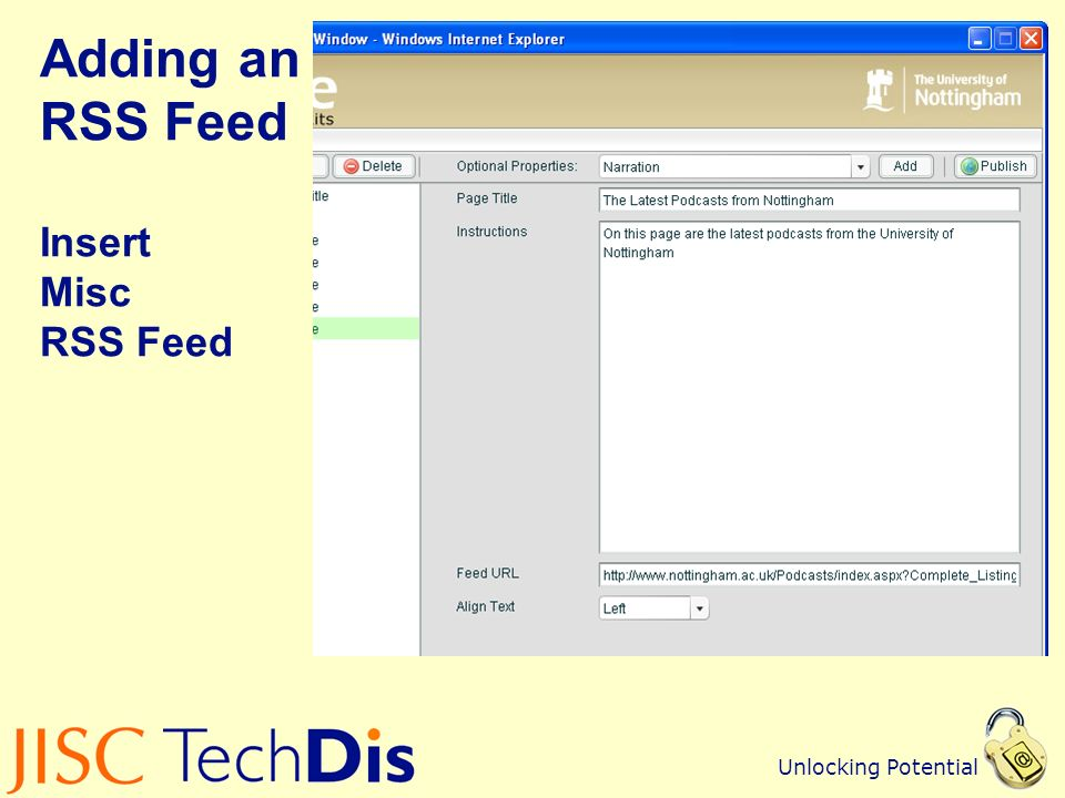Unlocking Potential Adding an RSS Feed Insert Misc RSS Feed