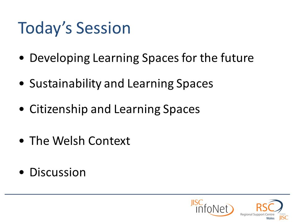 Todays Session Developing Learning Spaces for the future Sustainability and Learning Spaces Citizenship and Learning Spaces The Welsh Context Discussion