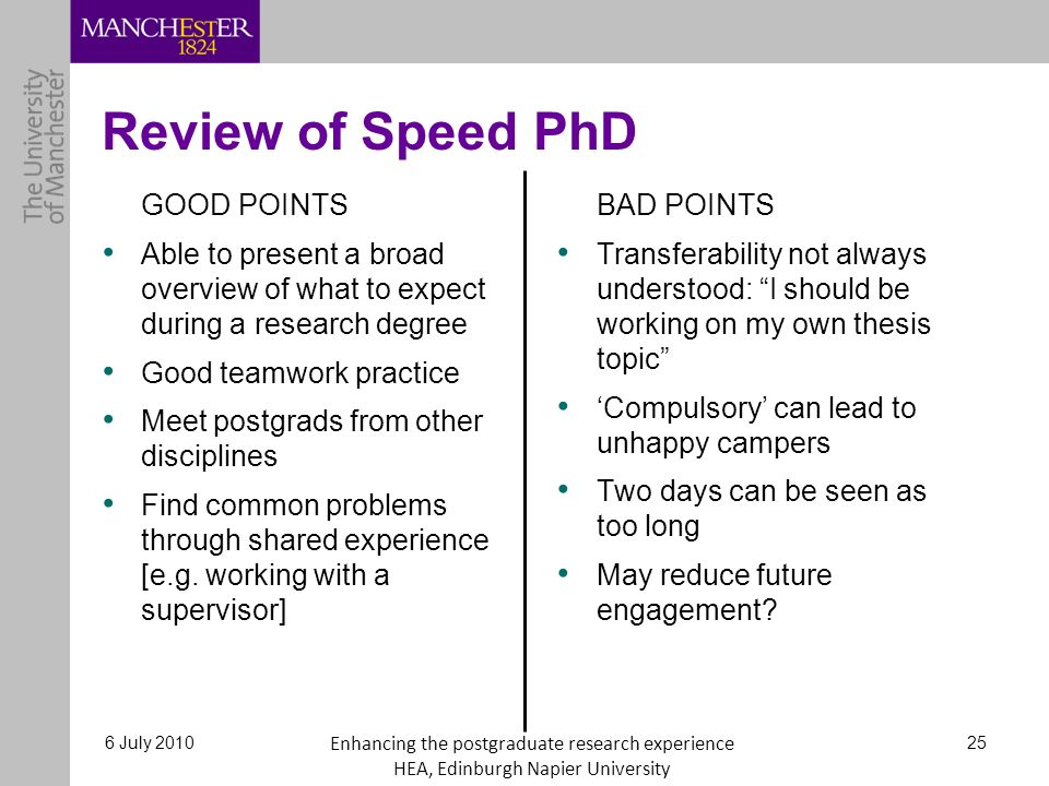 Review of Speed PhD GOOD POINTS Able to present a broad overview of what to expect during a research degree Good teamwork practice Meet postgrads from