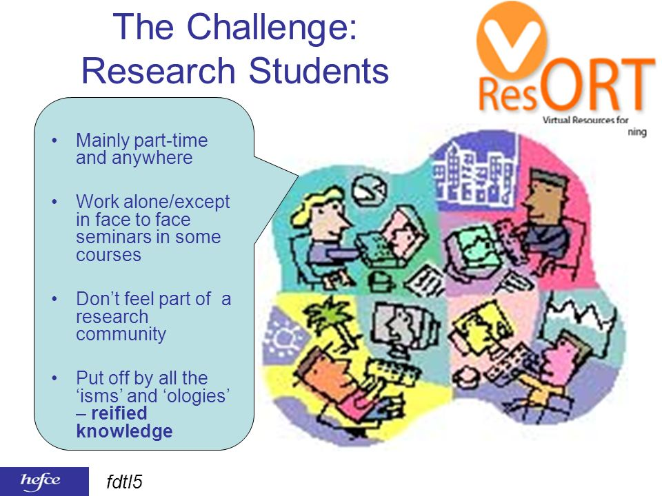 fdtl5 The Challenge: Research Students Mainly part-time and anywhere Work alone/except in face to face seminars in some courses Dont feel part of a research community Put off by all the isms and ologies – reified knowledge