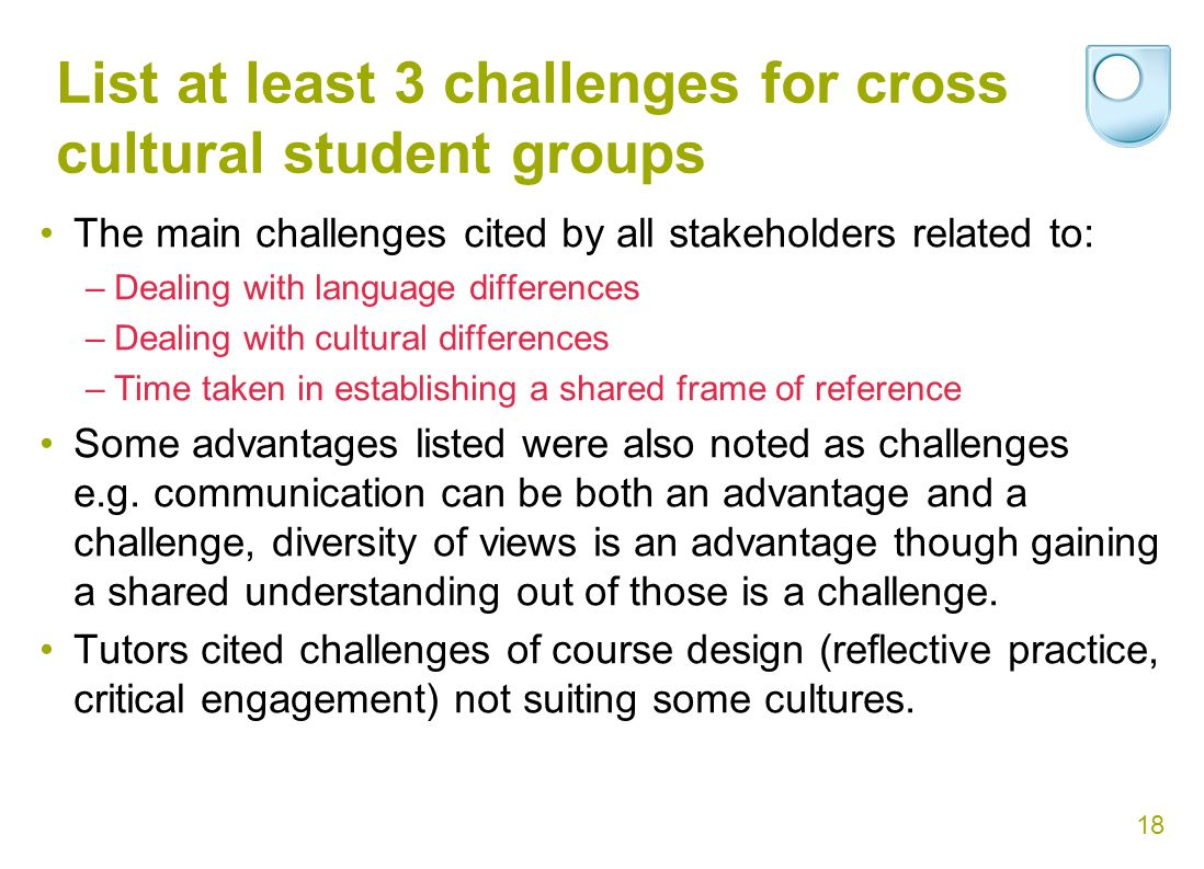18 List at least 3 challenges for cross cultural student groups The main challenges cited by all stakeholders related to: –Dealing with language differences –Dealing with cultural differences –Time taken in establishing a shared frame of reference Some advantages listed were also noted as challenges e.g.