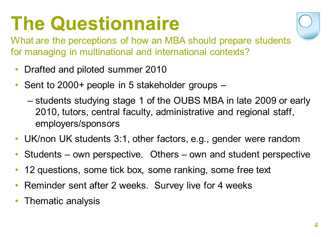4 The Questionnaire What are the perceptions of how an MBA should prepare students for managing in multinational and international contexts.