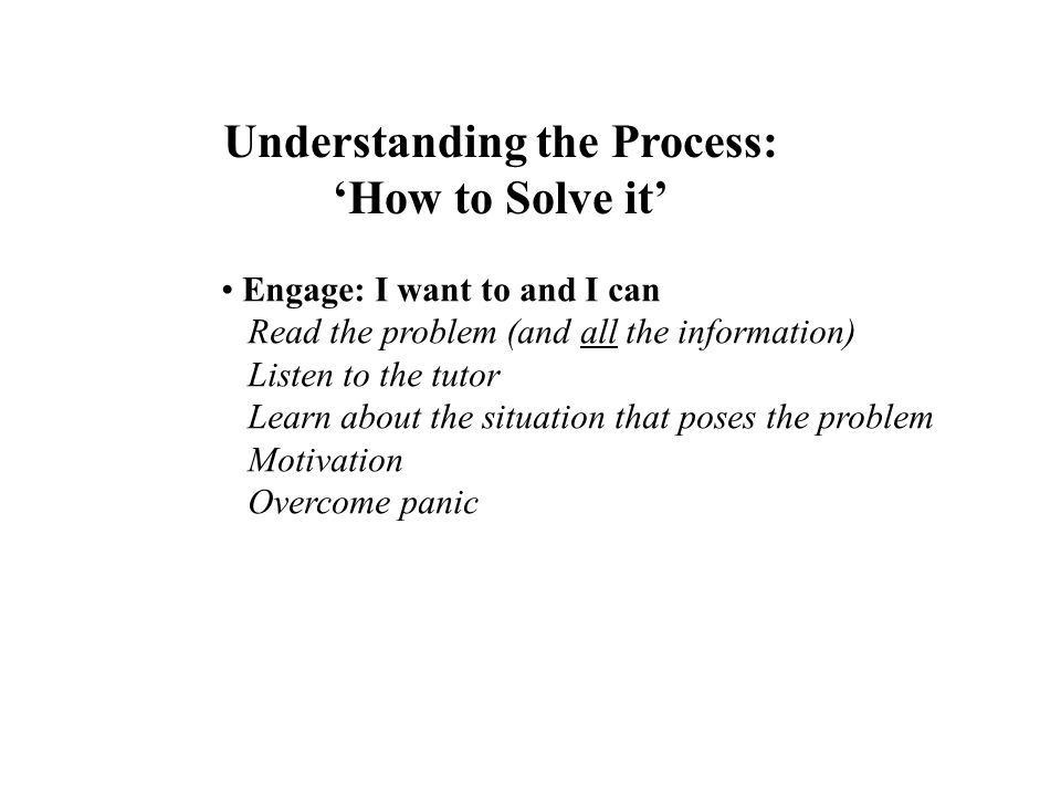 Understanding the Process: How to Solve it Engage: I want to and I can Read the problem (and all the information) Listen to the tutor Learn about the
