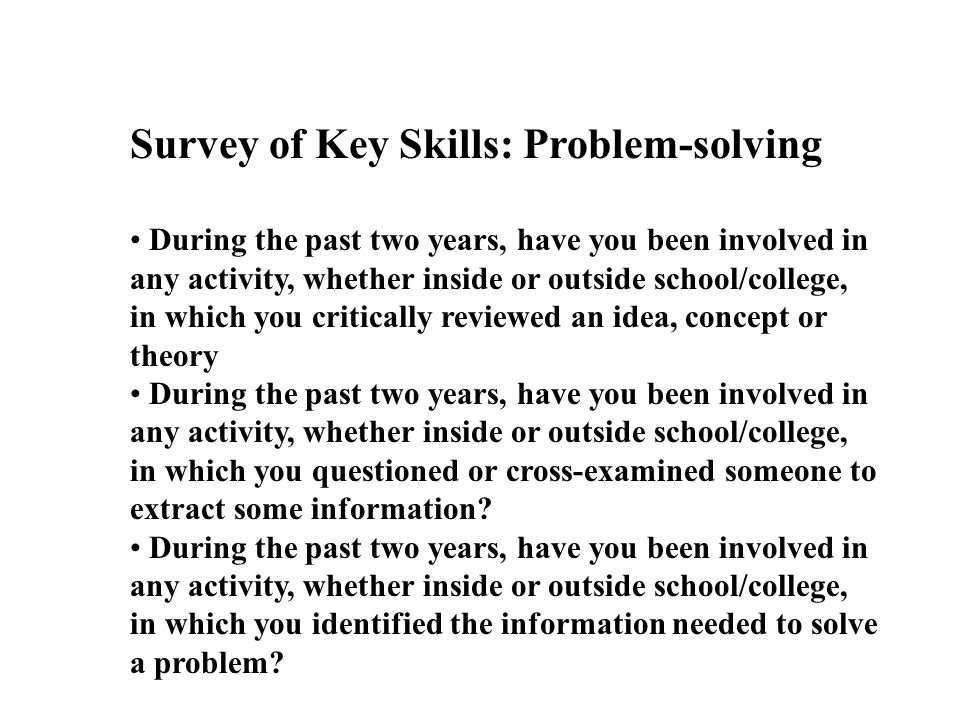 Survey of Key Skills: Problem-solving During the past two years, have you been involved in any activity, whether inside or outside school/college, in