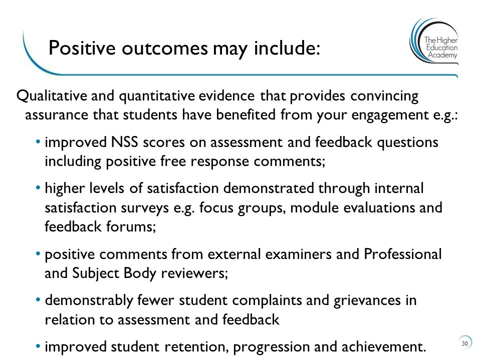 Qualitative and quantitative evidence that provides convincing assurance that students have benefited from your engagement e.g.: improved NSS scores on assessment and feedback questions including positive free response comments; higher levels of satisfaction demonstrated through internal satisfaction surveys e.g.