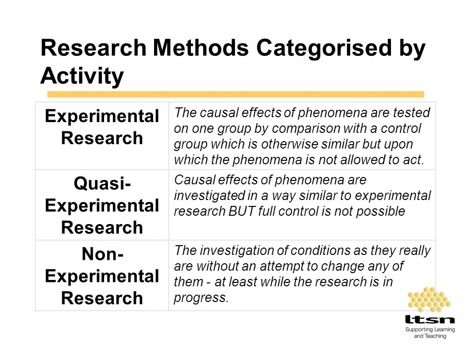 Research Methods Categorised by Activity Experimental Research The causal effects of phenomena are tested on one group by comparison with a control gr