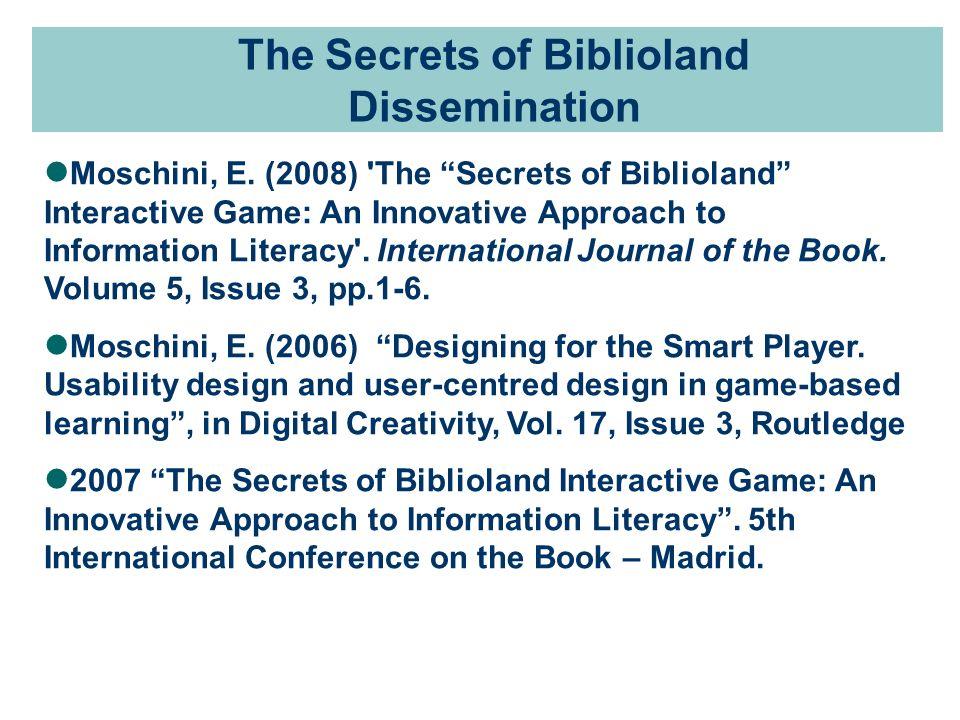 The Secrets of Biblioland Dissemination Moschini, E.
