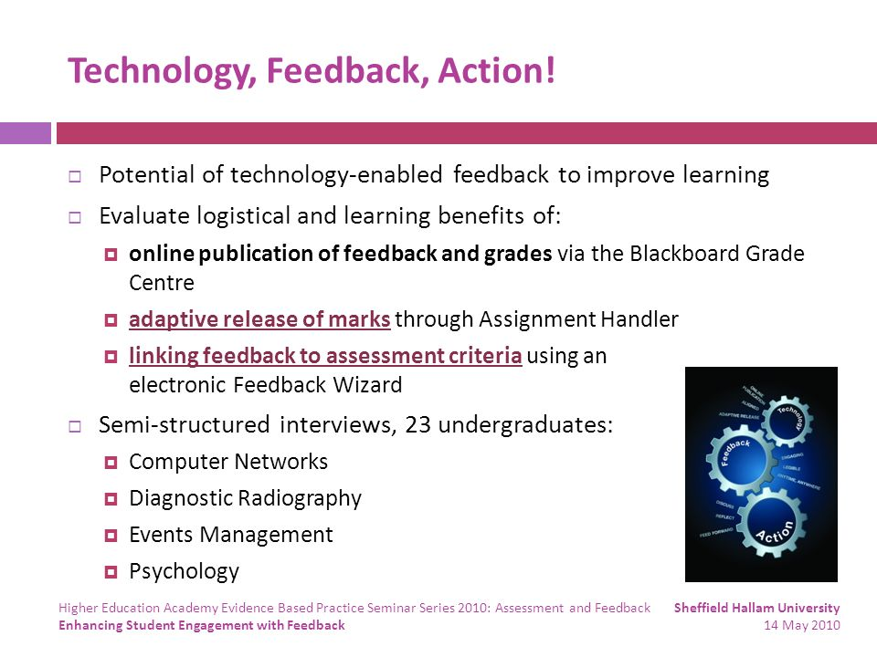 Technology, Feedback, Action! Potential of technology-enabled feedback to improve learning Evaluate logistical and learning benefits of: online public