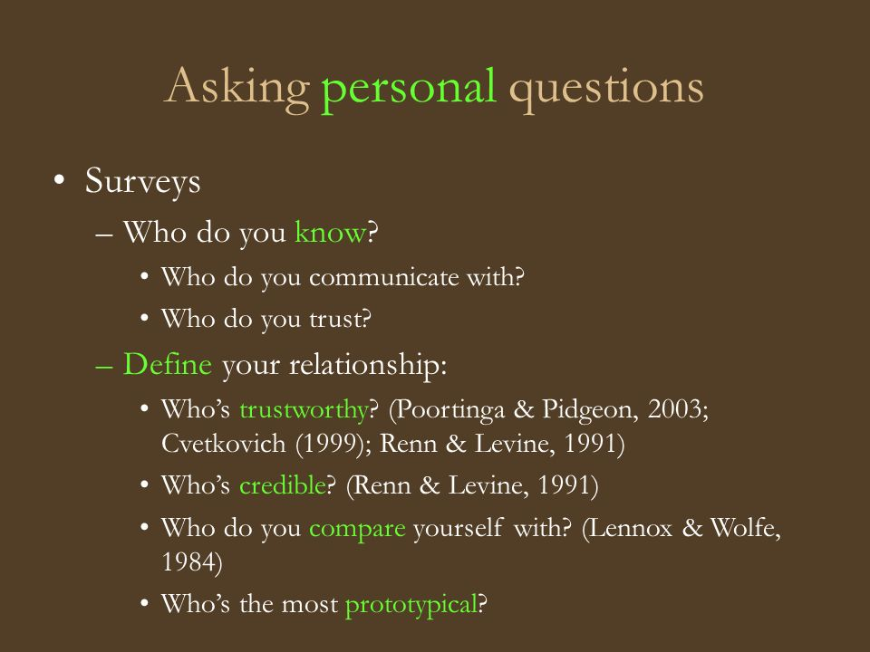 Asking personal questions Surveys –Who do you know.