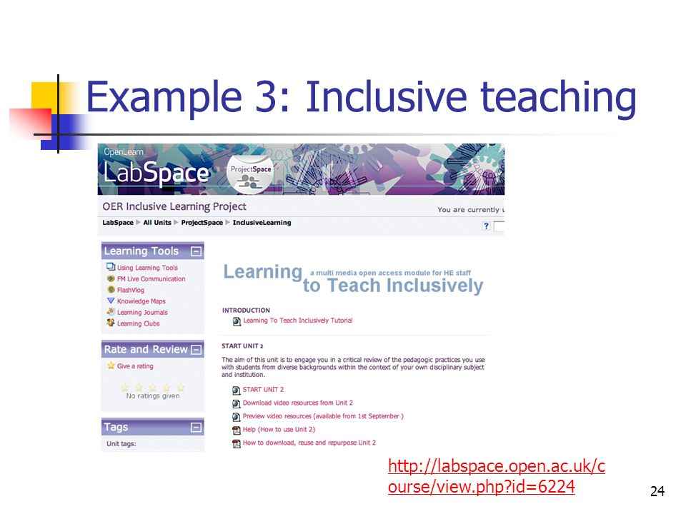 Example 3: Inclusive teaching 24 http://labspace.open.ac.uk/c ourse/view.php id=6224