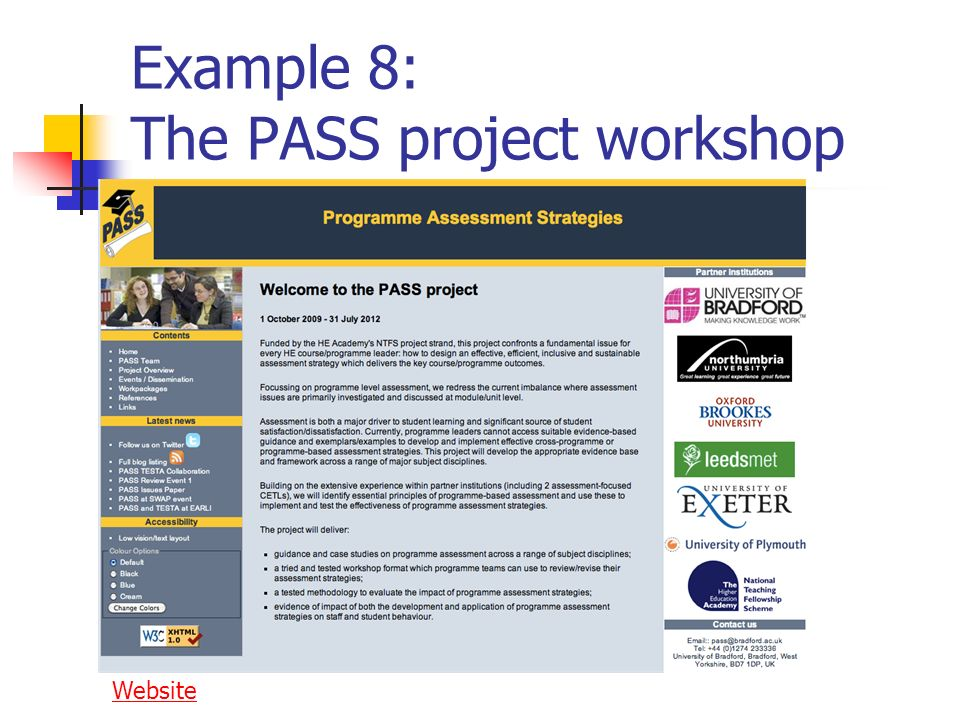Example 8: The PASS project workshop Website