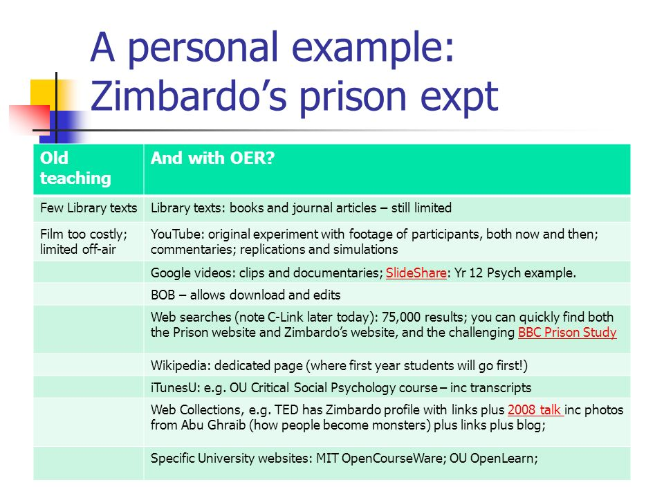 A personal example: Zimbardos prison expt Old teaching And with OER.