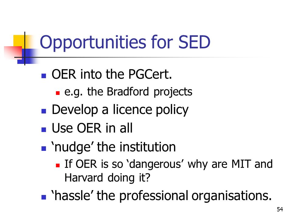 Opportunities for SED OER into the PGCert. e.g.