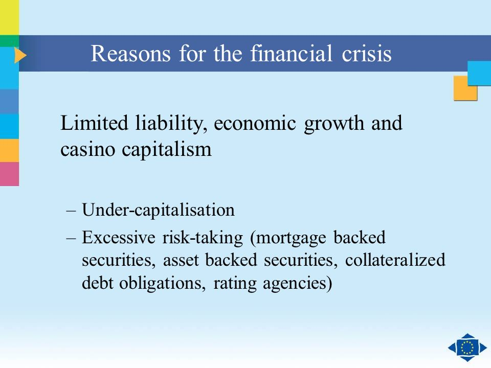 Click to edit Master title style Click to edit Master text styles Second level Third level Fourth level Fifth level 8 Reasons for the financial crisis